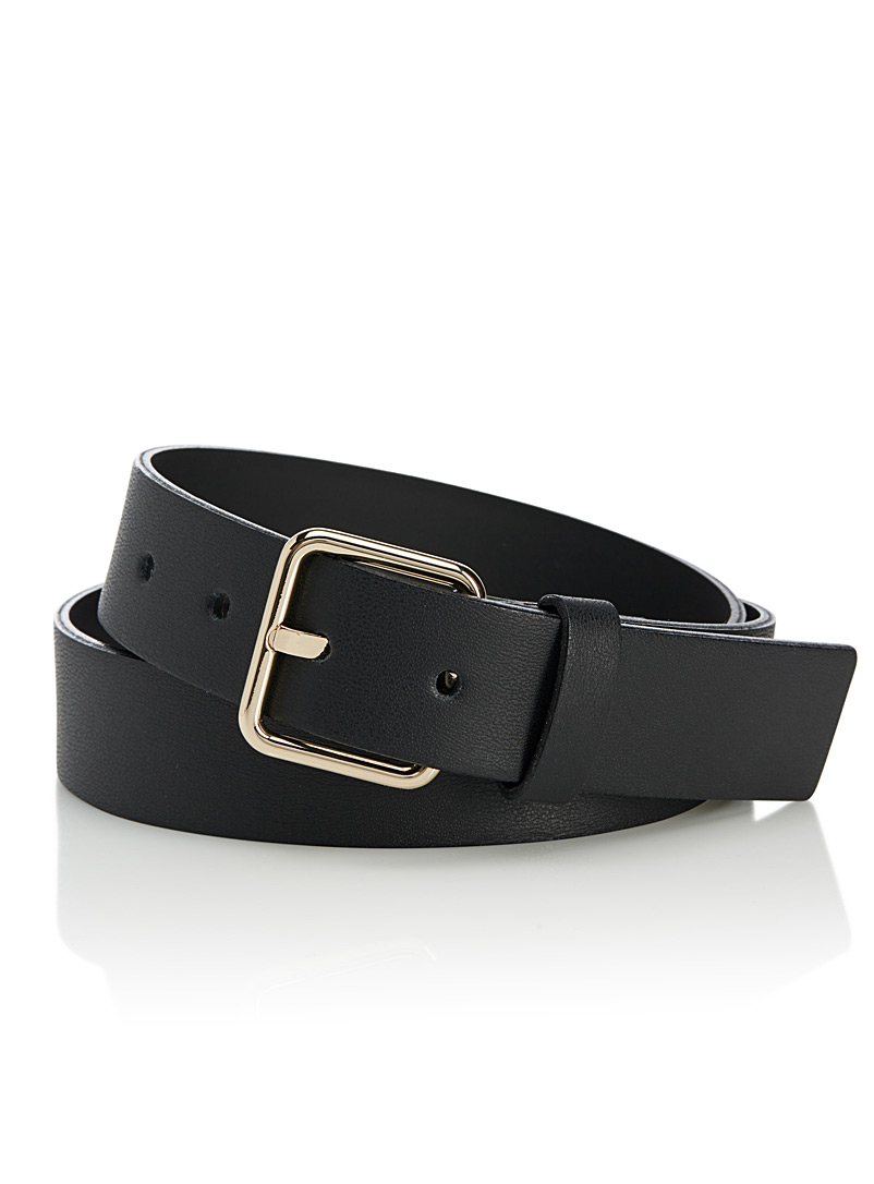 Smooth leather belt - Belts - Black