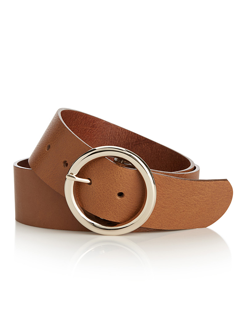 Simons Fawn Wide grained leather belt for women