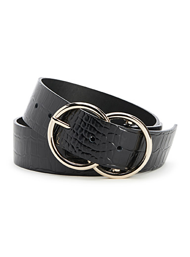 Simons Black Double-buckle croc belt for women