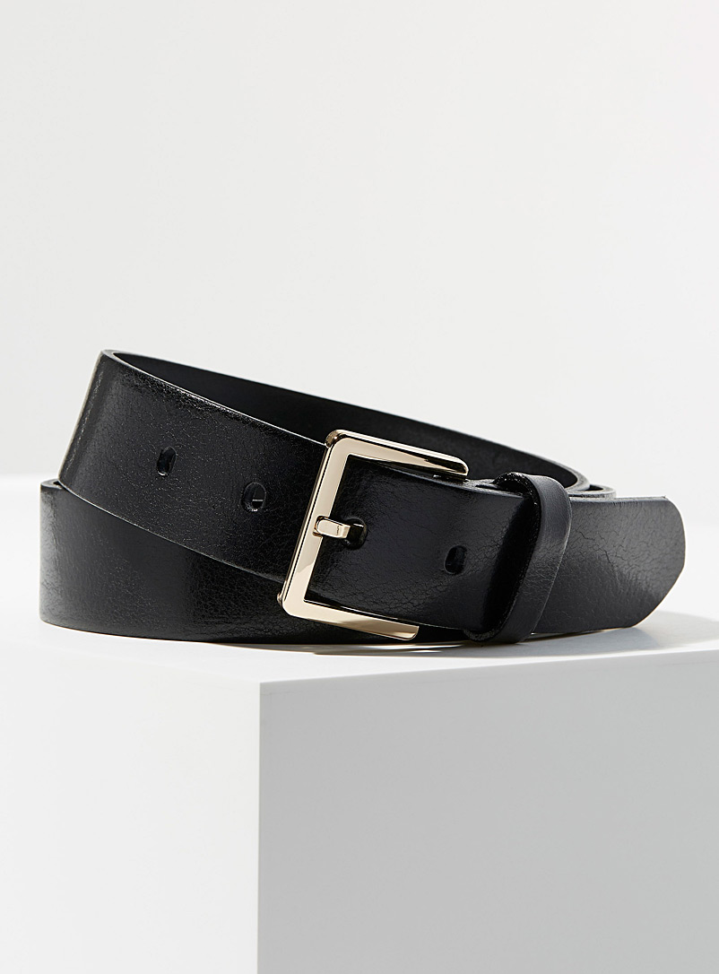 Simons Black Pebbled Italian leather belt for women
