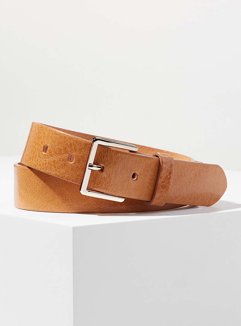 Simons Honey Pebbled Italian leather belt for women
