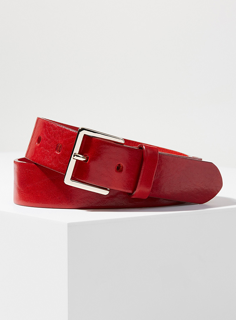 Simons Red Pebbled Italian leather belt for women
