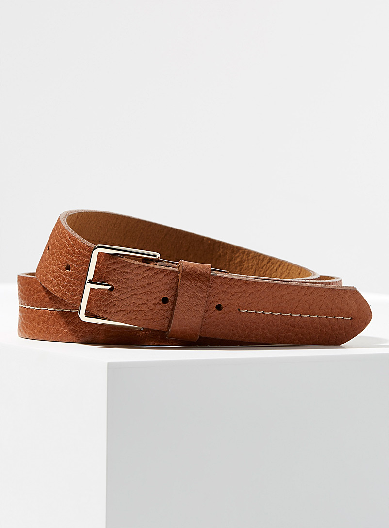 Accent-stitched belt - Belts - Brown