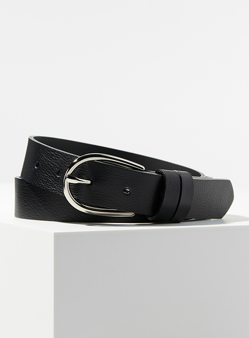 Simons Black Silver oval-buckle belt for women