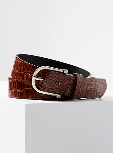 Simons Brown Croc-embossed belt for women