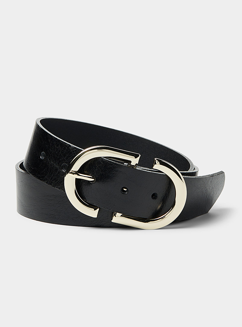 Simons Black Gold buckle double belt for women