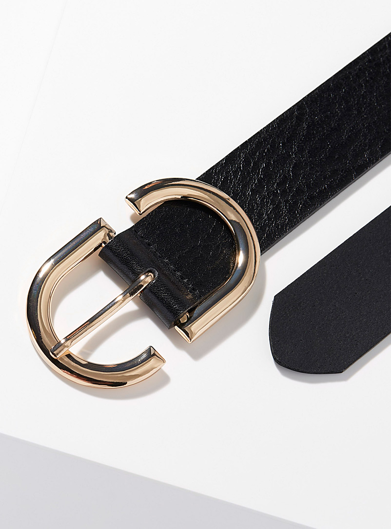 Simons Brown Gold buckle double belt for women