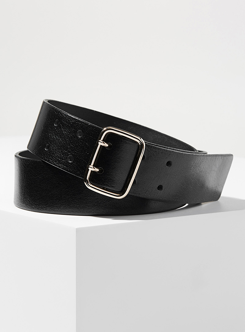 Simons Black Modern double-row belt for women