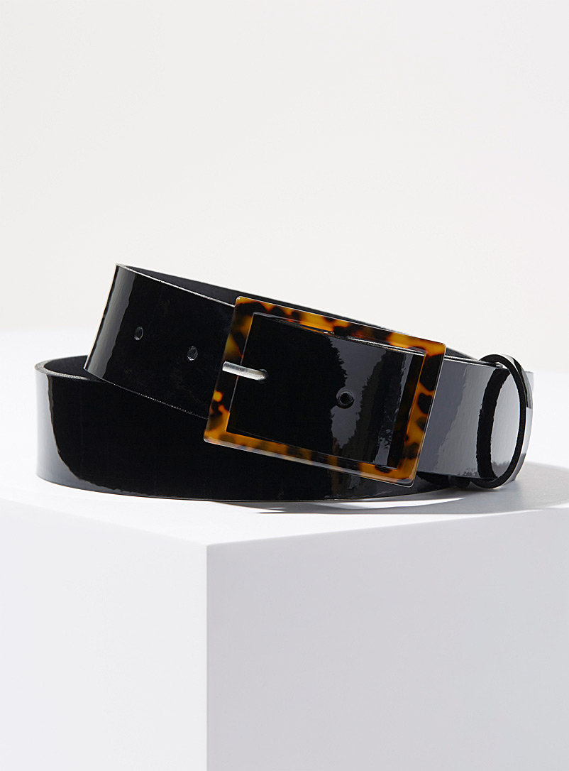 Simons Black Tortoiseshell patent leather belt for women