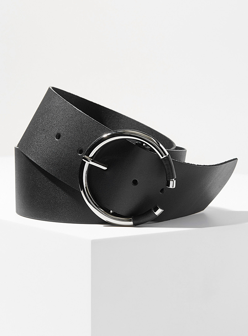 Simons Black Wide C-buckle belt for women