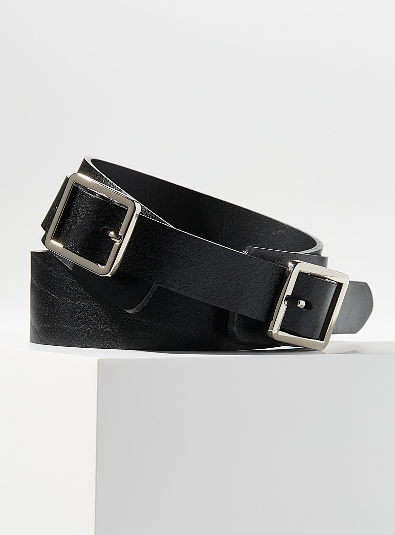 Simons Black Square buckle double belt for women