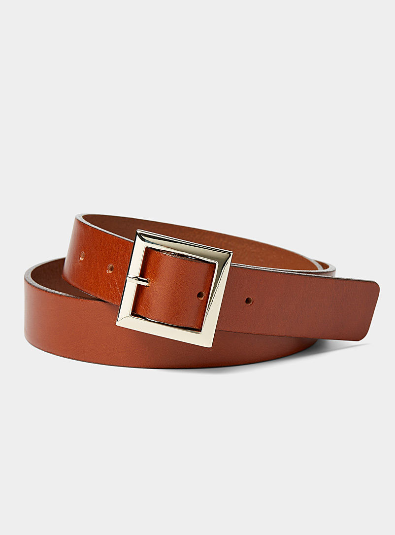Simons Brown Square buckle belt for women