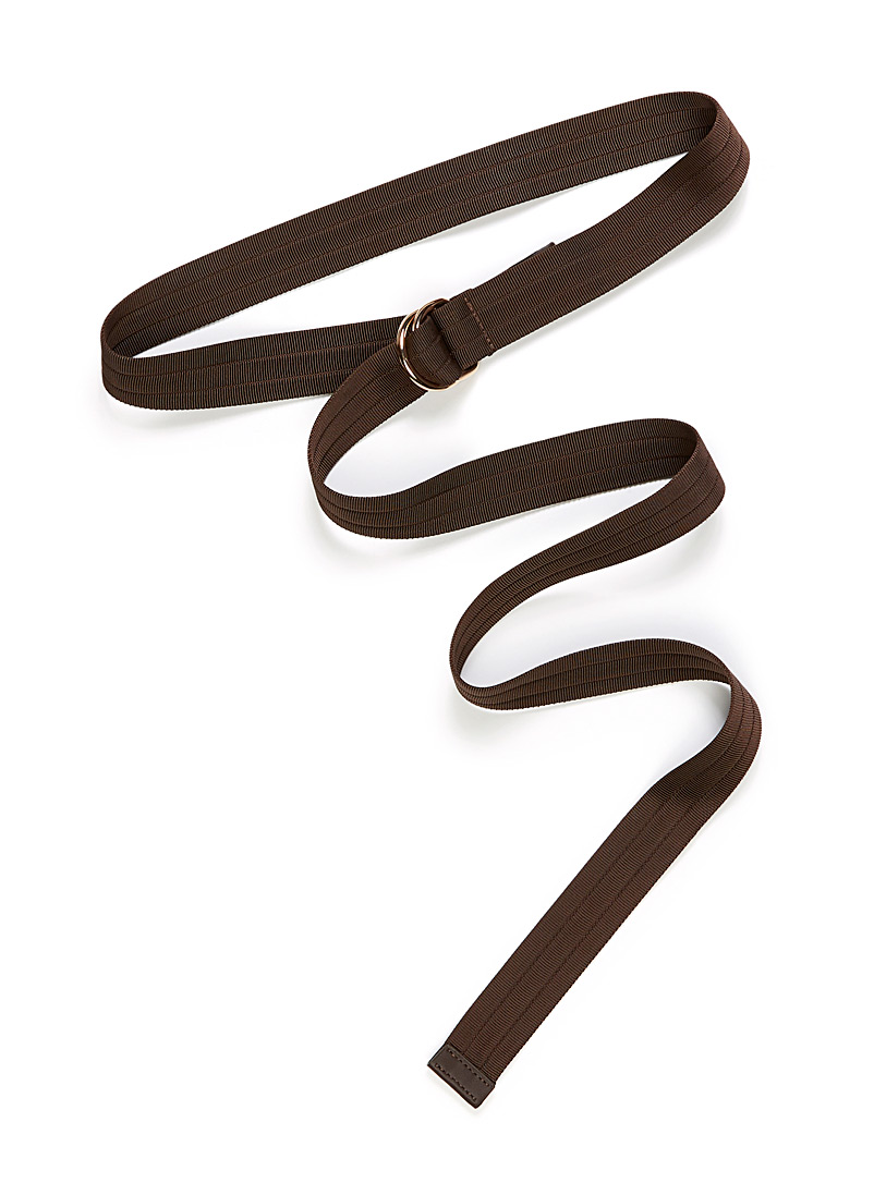 Simons Brown Long topstitched strap belt for women