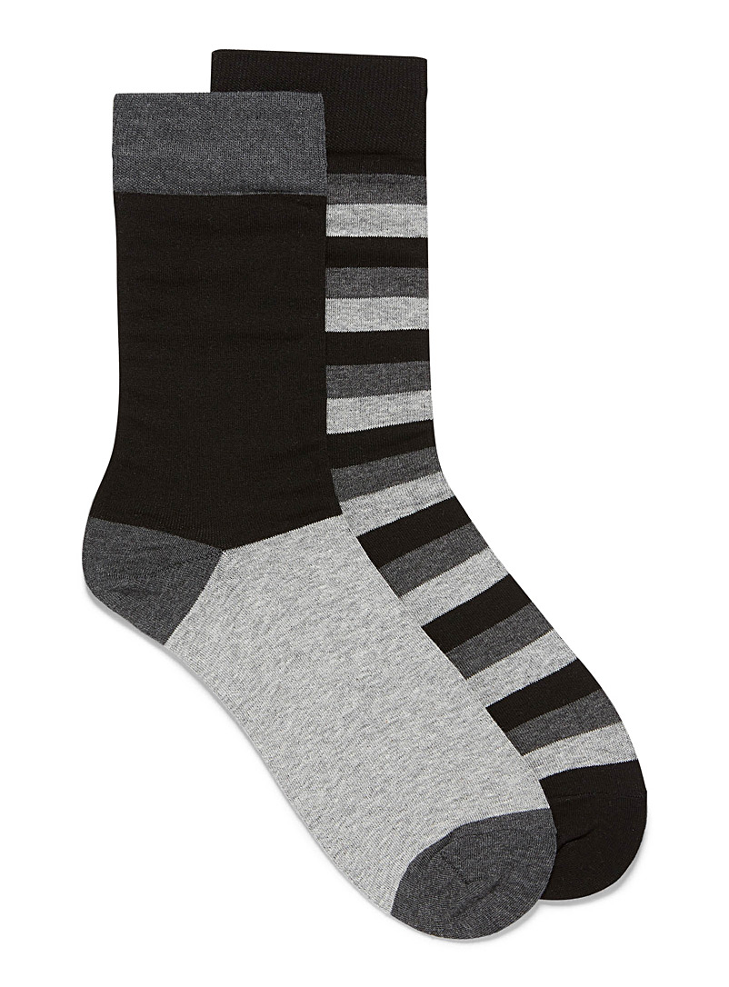 Le 31 Black Graduated stripe sock 2-pack for men