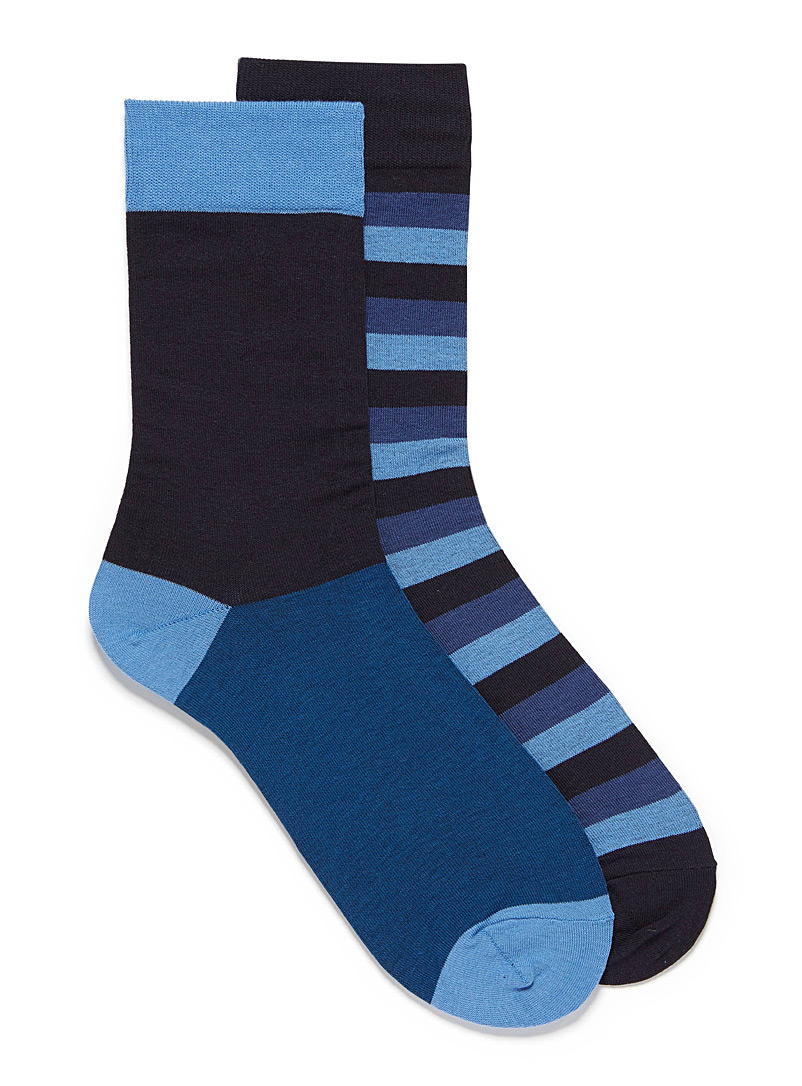 Graduated stripe sock 2-pack - Dressy socks - Dark Blue
