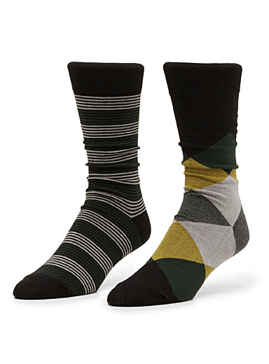 Neo-diamond and stripe sock 2-pack