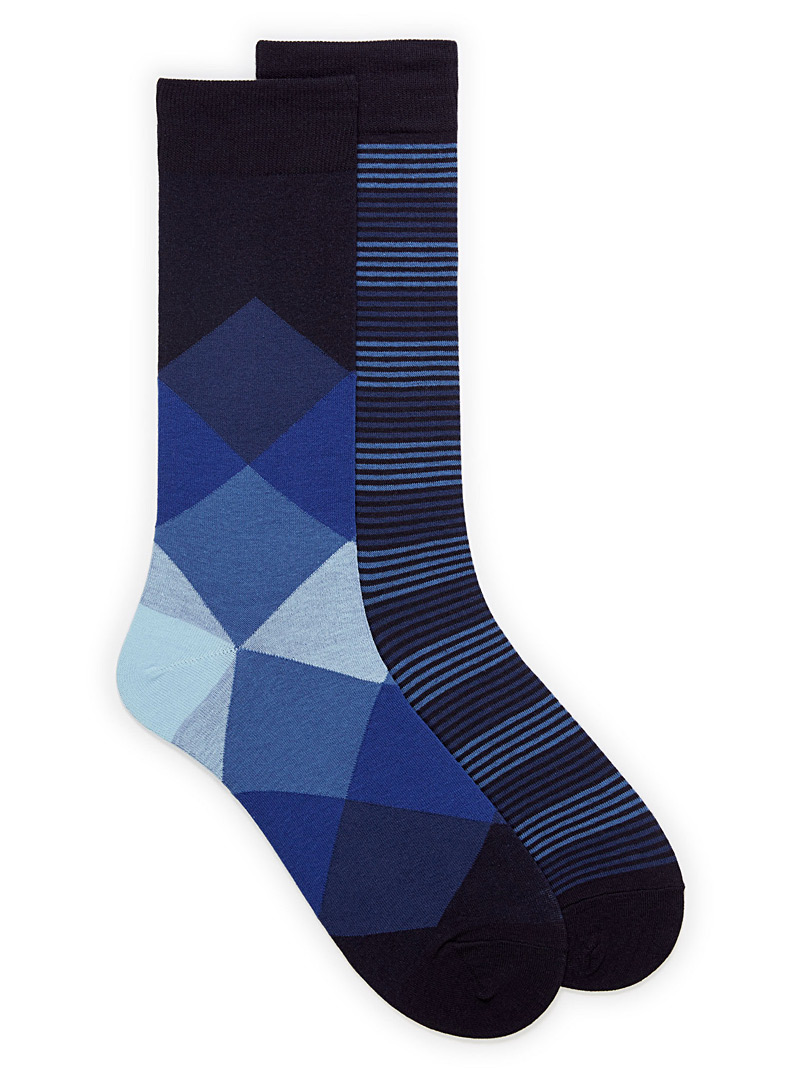 Le 31 Marine Blue Neo-diamond and stripe sock 2-pack for men
