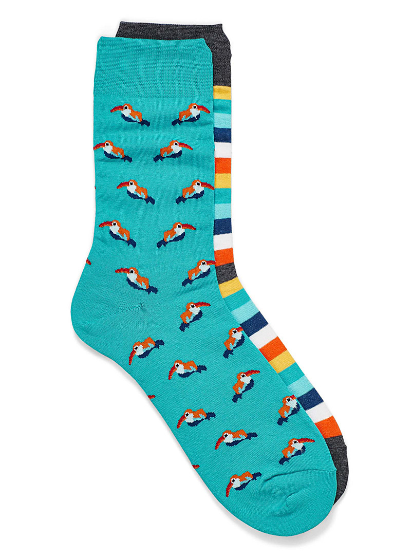 Le 31 Teal Toucan sock 2-pack for men