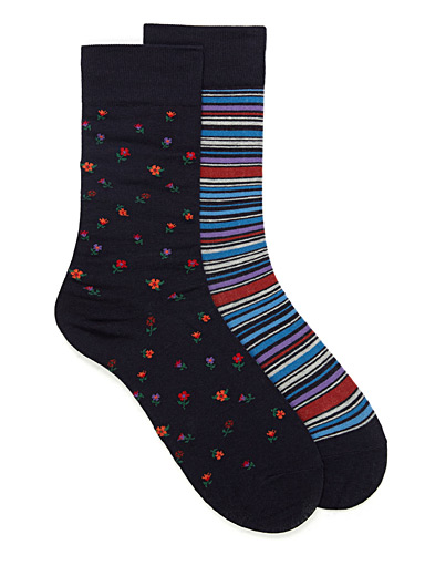 Flower and stripe small sock 2-pack