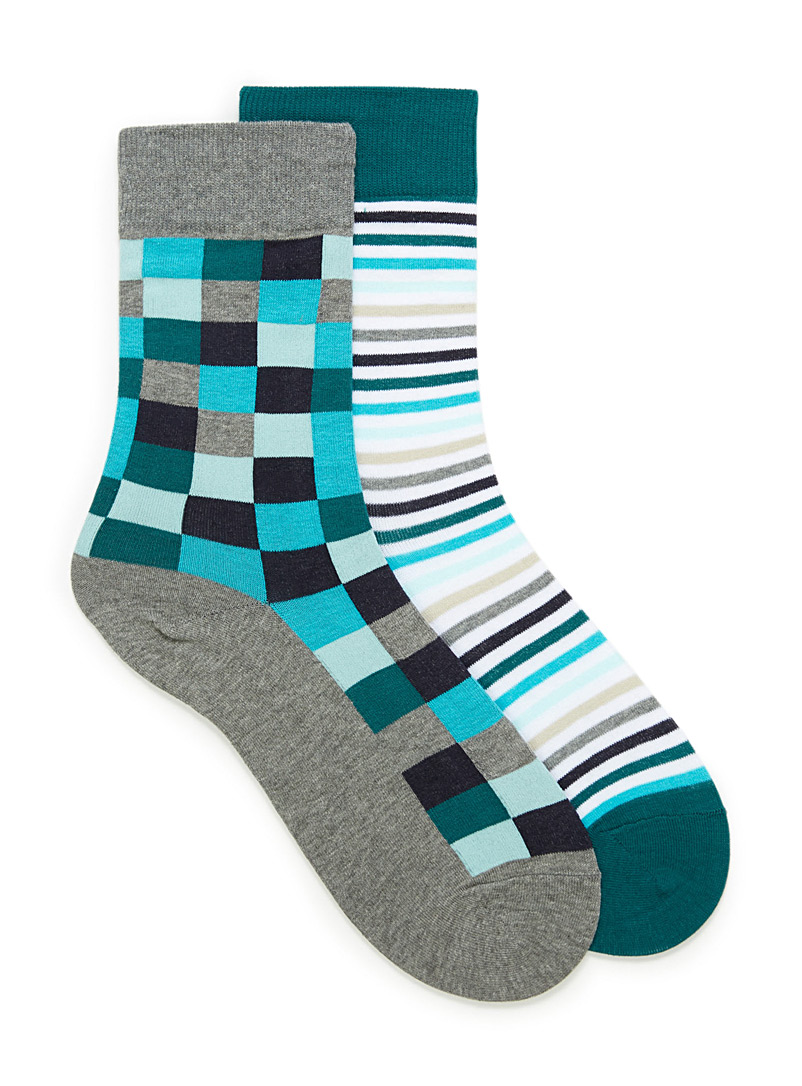 Le 31 Grey Checkerboard and graphic stripe sock 2-pack for men