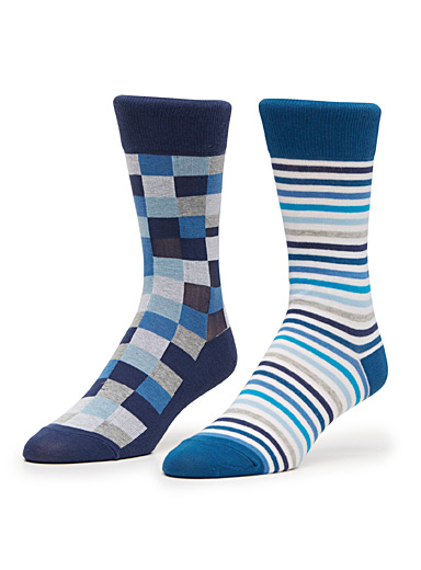 Checkerboard and graphic stripe sock 2-pack
