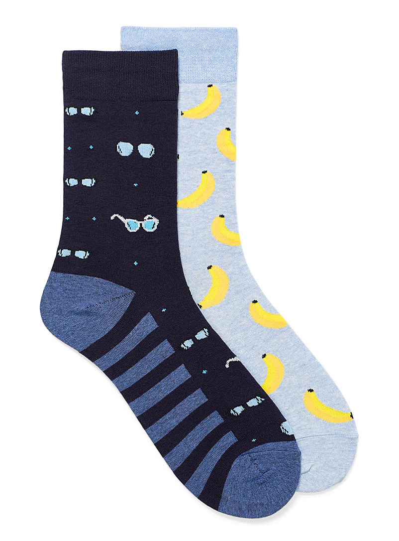 Le 31 Patterned Blue Bananas and sunglasses sock 2-pack Smaller size for men