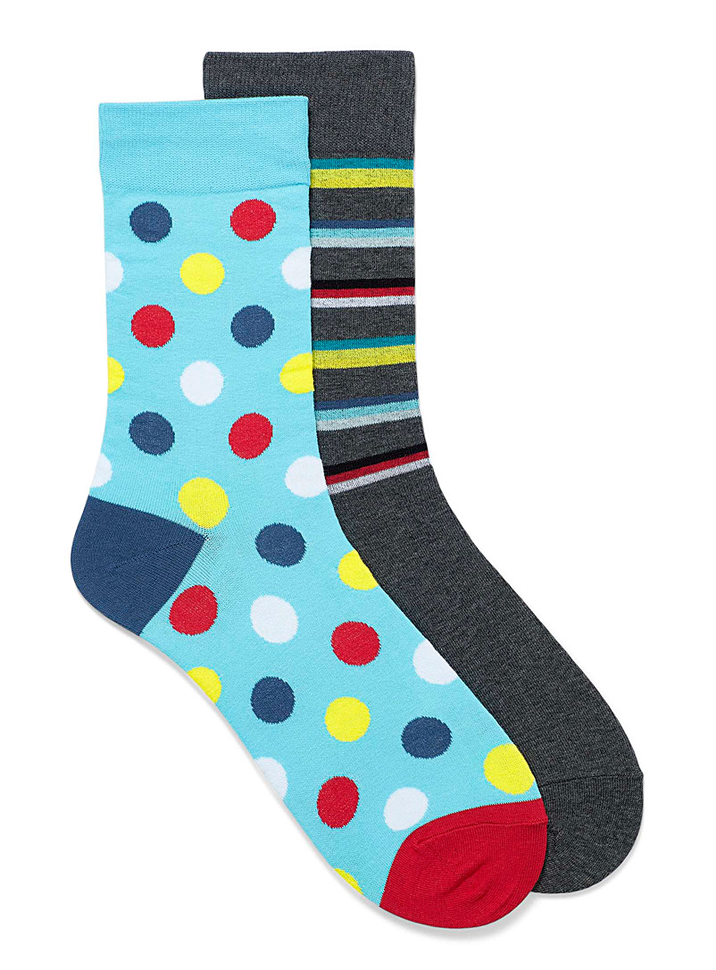 Le 31 Teal Pop stripes and dots sock 2-pack Smaller size for men
