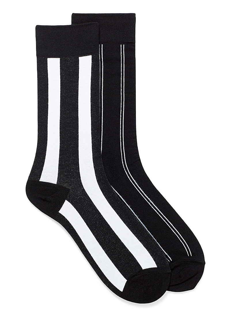 Le 31 Black and White Black and white stripe socks 2-pack for men