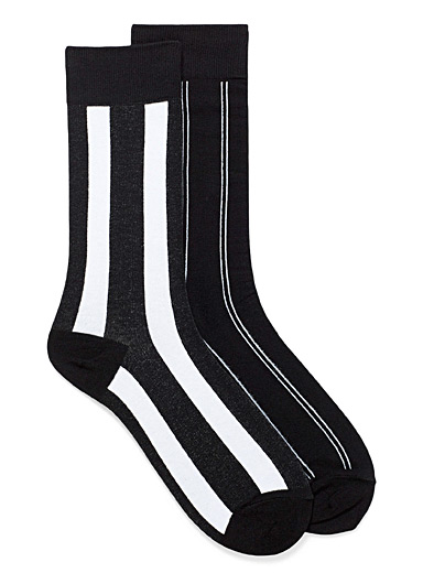 Black and white stripe socks 2-pack