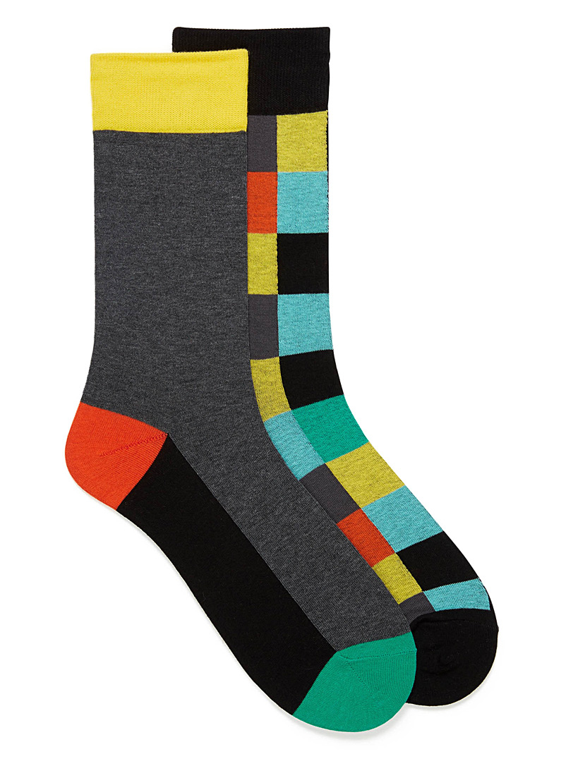Colour block sock 2-pack - Dressy socks - Black