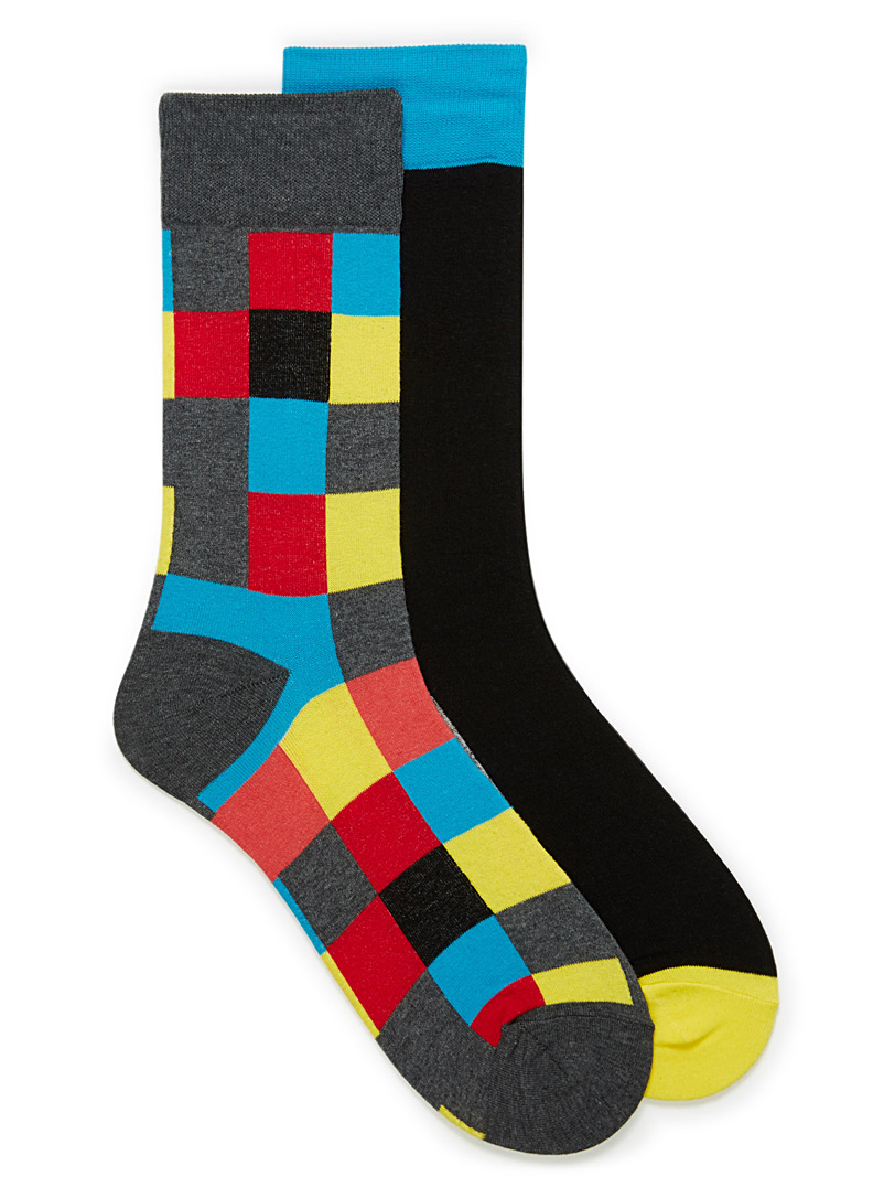 Le 31 Red Colour block sock 2-pack for men