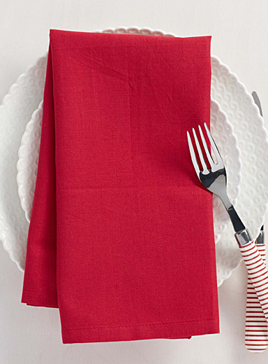 La serviette de table rouge 100% coton