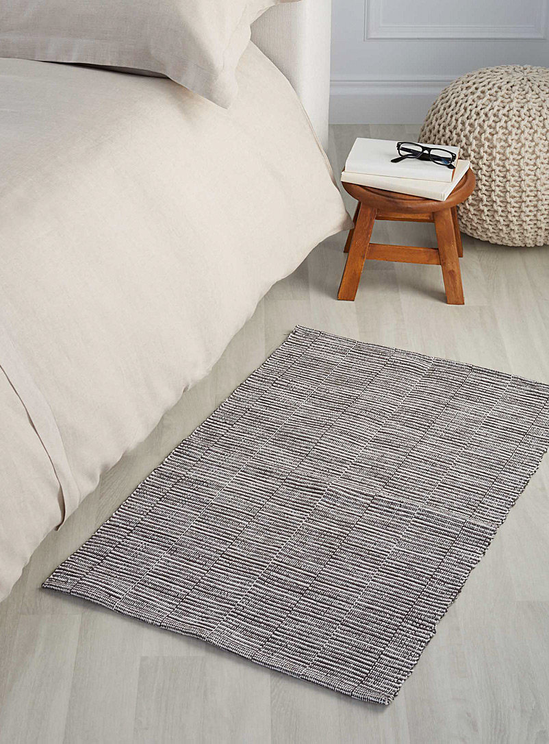 Ottoman stripe floor mat  60 x 90 cm - Neutral Basics - Charcoal