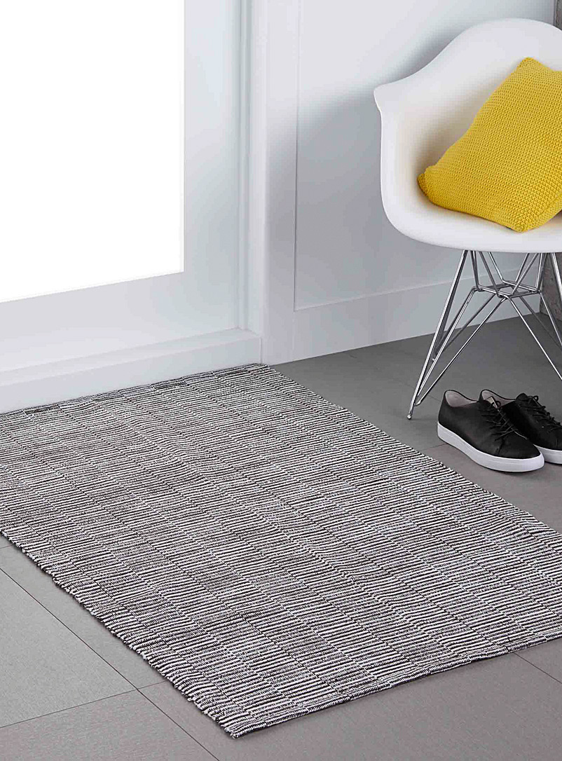 Ottoman stripe floor mat  90 x 130 cm - Small Rugs - Charcoal