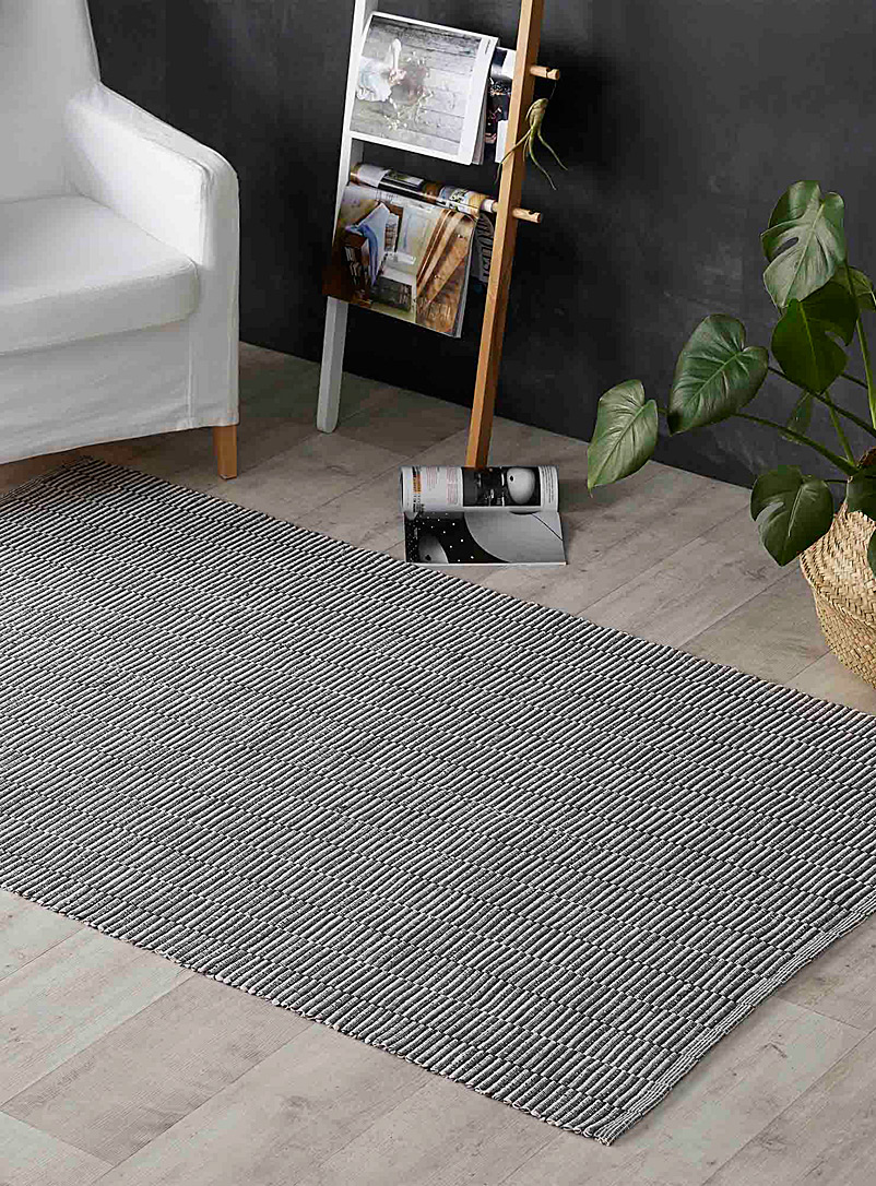 Ottoman stripe floor mat  120 x 180 cm - Neutral Basics - Charcoal
