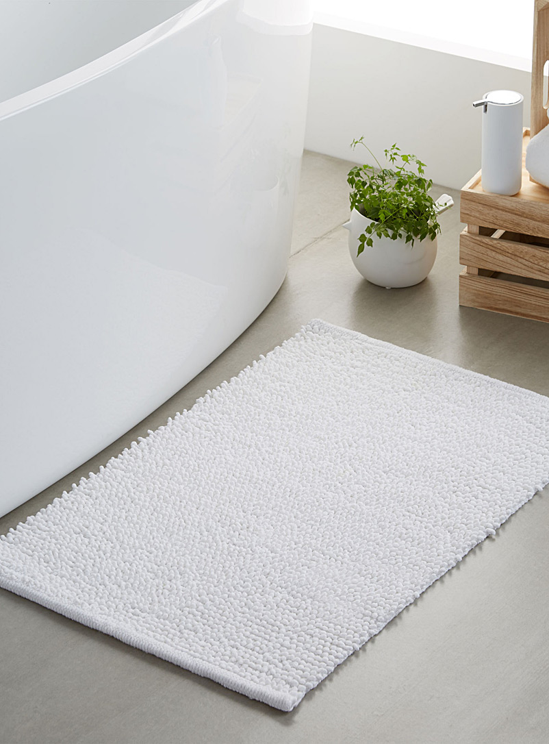 Looped bath mat  50 x 80 cm - Bath Rugs - White