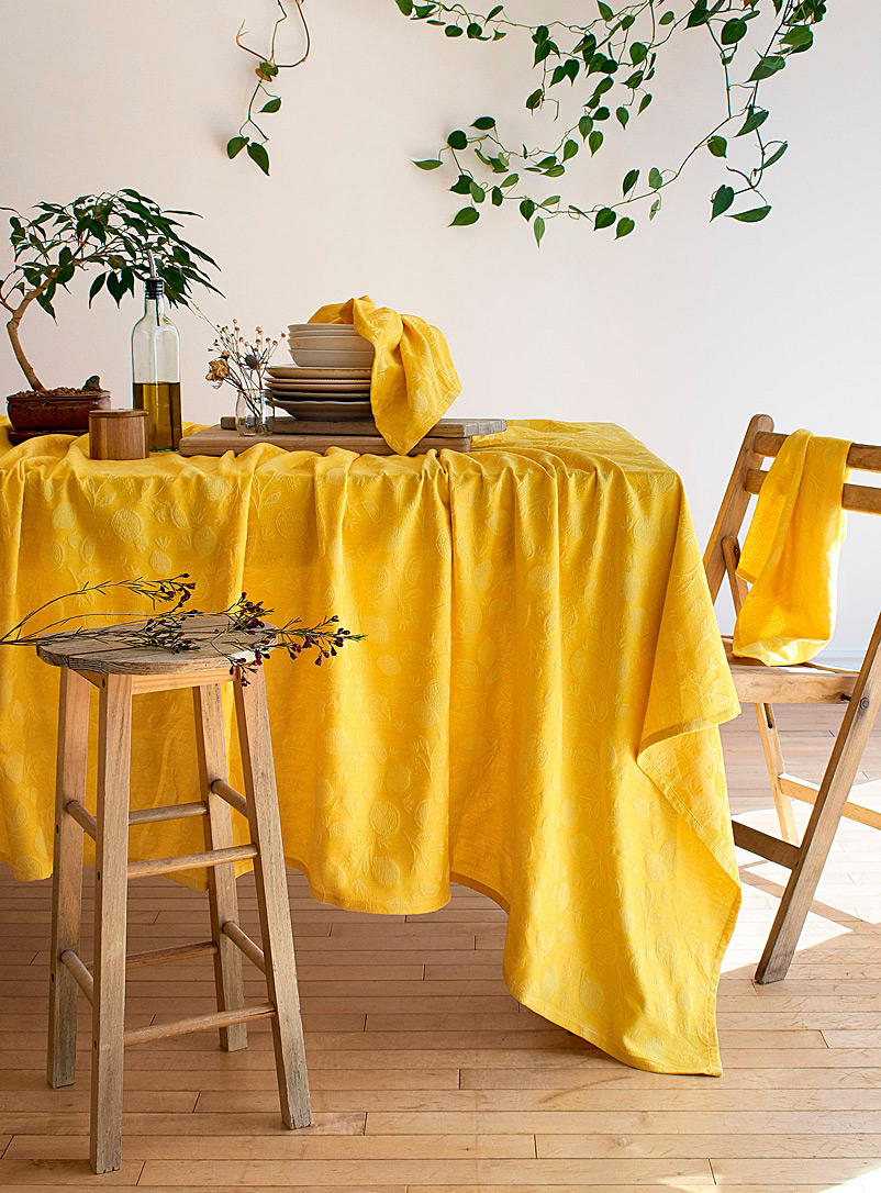 Simons Maison Bright Yellow Fresh lemon organic cotton tablecloth