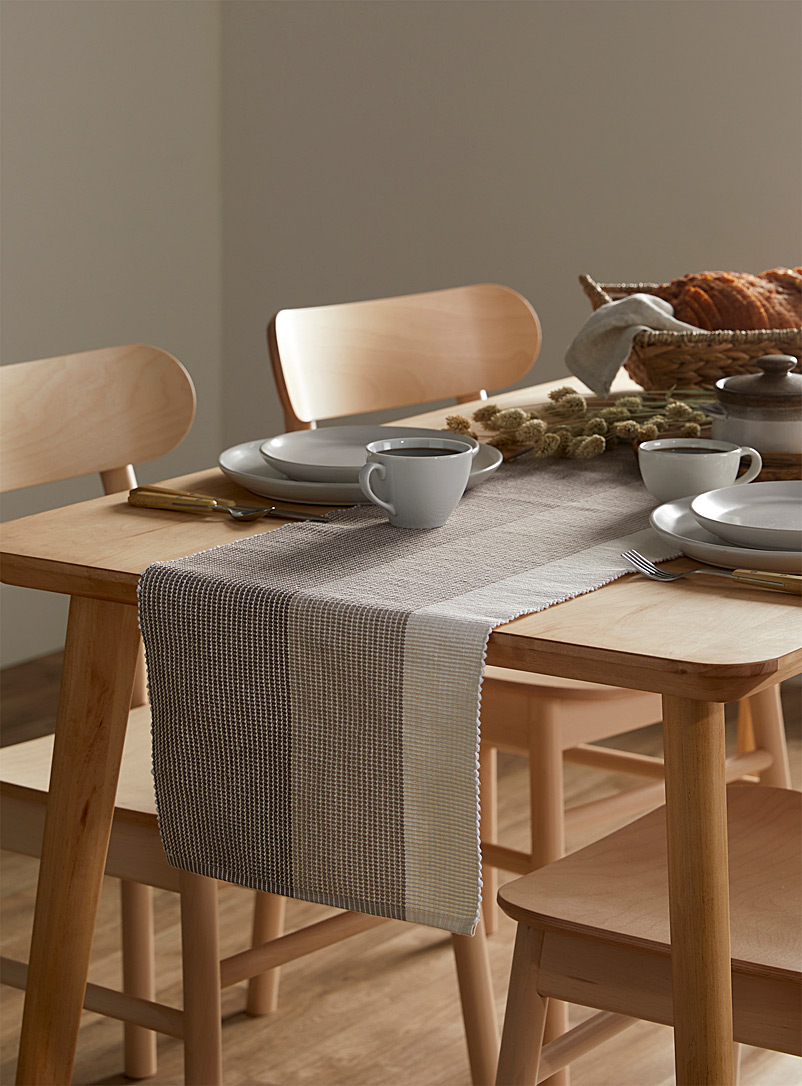 Simons Maison Assorted Herringbone striped organic cotton table runner 33 x 180 cm