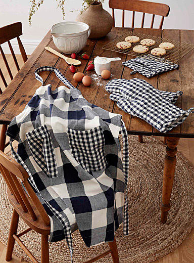 Gingham check organic cotton accessories