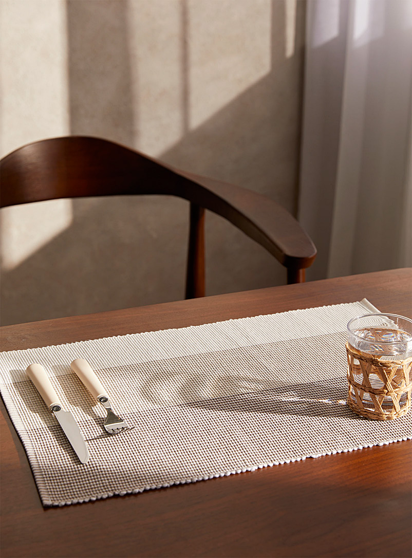 Simons Maison Assorted Natural block-stripe woven cotton placemat