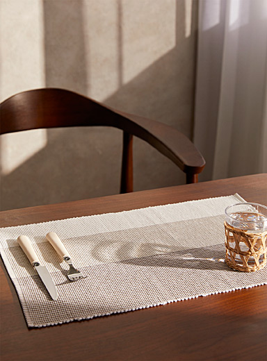 Natural block stripe woven cotton place mat