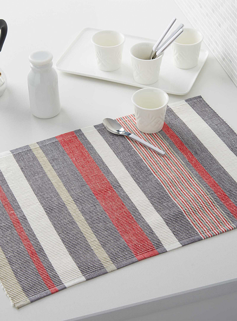 Simons Maison Assorted Nautical stripe organic cotton placemat
