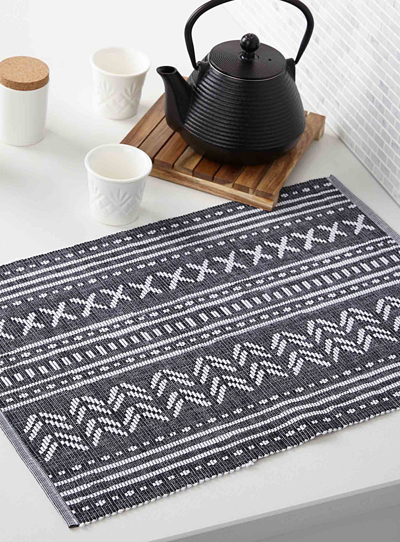 Chalk jacquard woven placemat - Fabric - Black