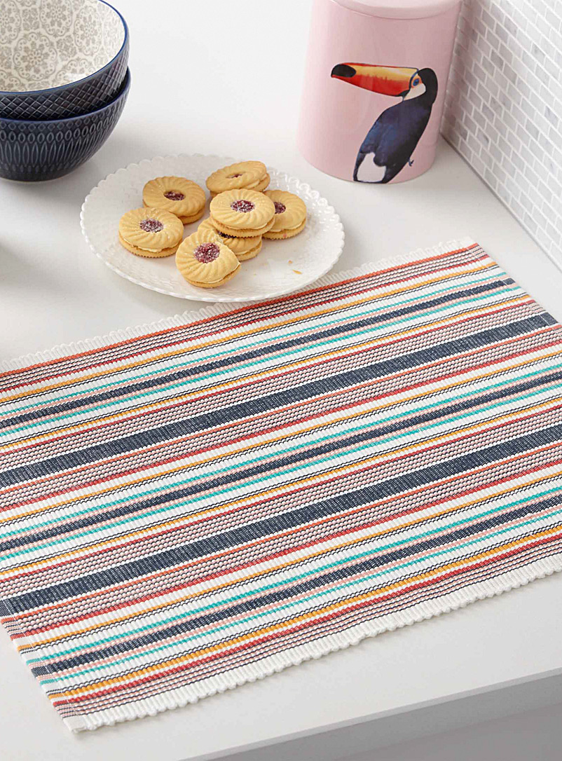 Simons Maison Assorted Multi-stripe organic cotton placemat