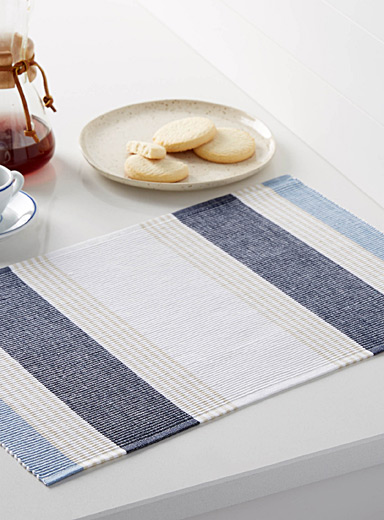 Chambray stripe woven place mat