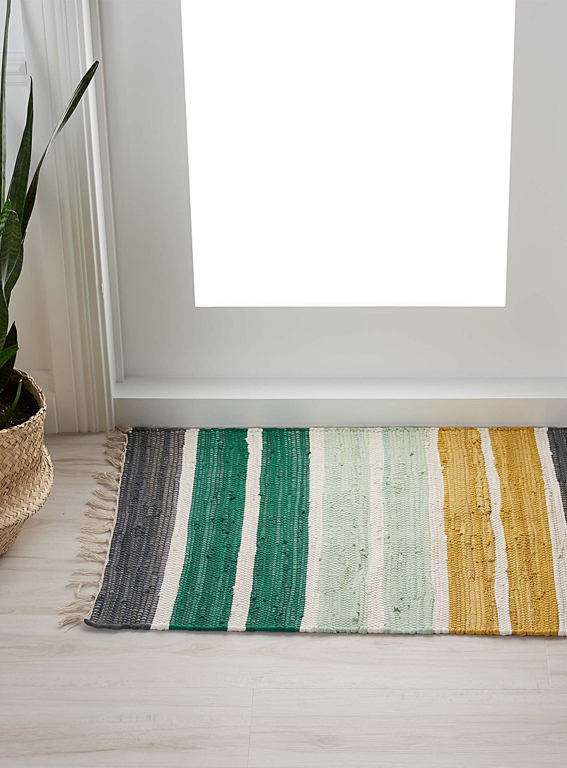 Lush green stripe rug  60 x 90 cm - Patterned - Assorted