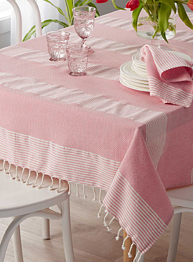 Coral stripe fouta tablecloth