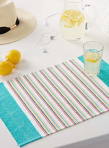 Fruity-stripe woven cotton place mat