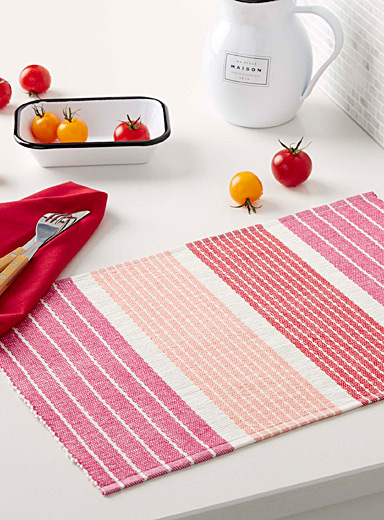 Colour block cotton weave place mat