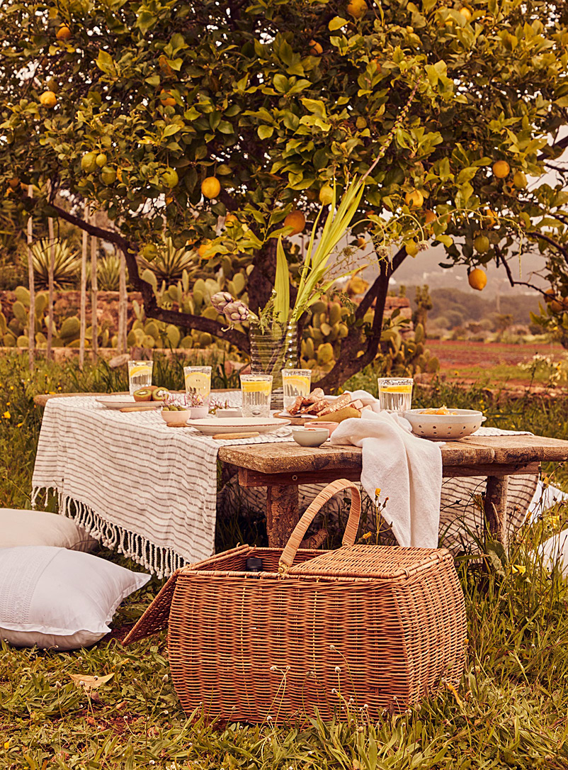 Simons Maison Patterned Ecru Breakfast on the Mediterranean woven cotton tablecloth
